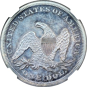 1855 $1 PF reverse