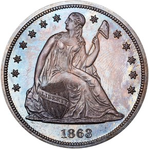 1863 $1 PF obverse