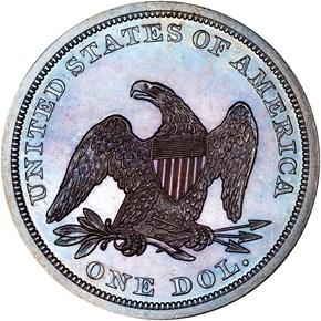 1863 $1 PF reverse
