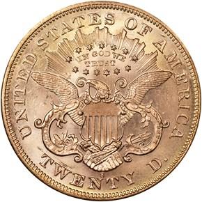 1876 S $20 MS reverse