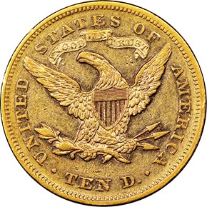 1867 $10 MS reverse