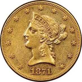 1871 $10 MS obverse