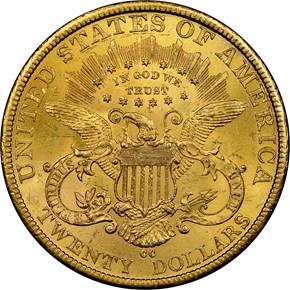 1884 CC $20 MS reverse