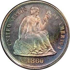 1860 10C PF obverse