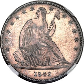 1842 O SMALL DATE 50C MS obverse