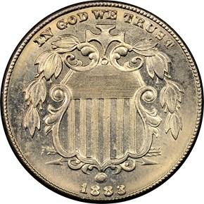 1883 SHIELD 5C MS obverse