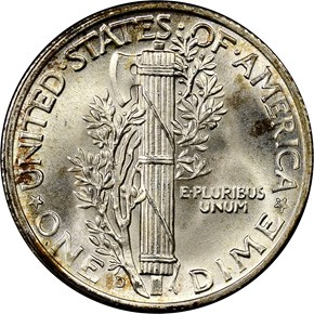 1943 D 10C MS reverse