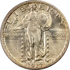 1917 S TYPE 2 25C MS obverse
