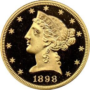 1898 $5 PF obverse