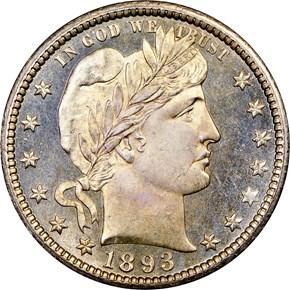 1893 O 25C MS obverse