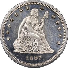 1867 25C PF obverse
