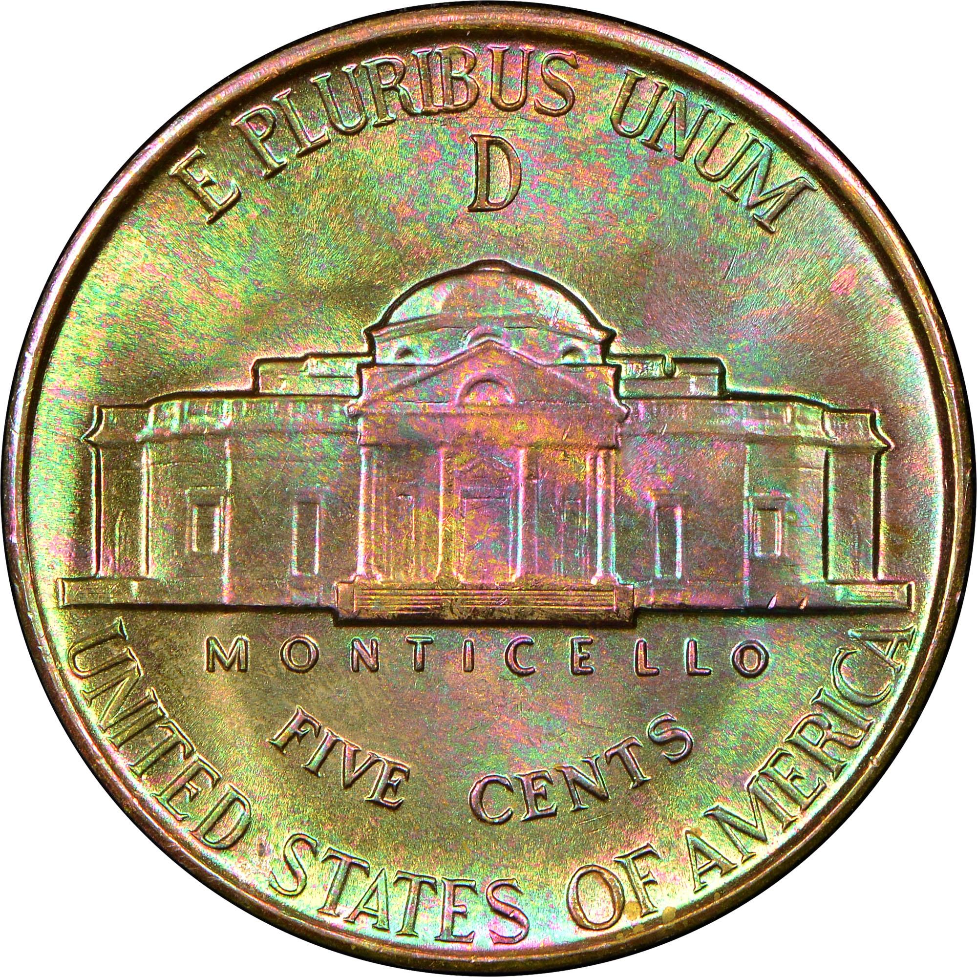 1944 D 5C MS Jefferson Five Cents