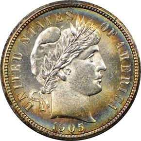 1905 O 10C MS obverse
