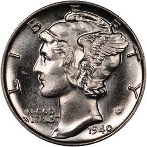 1940 D 10C MS obverse