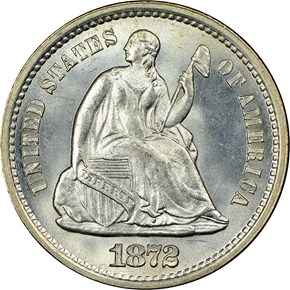 1872 S ABOVE BOW H10C MS obverse