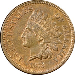 1873 OPEN 3 1C MS obverse