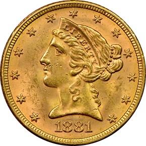 1881 $5 MS obverse