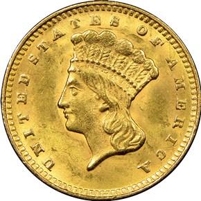 1874 G$1 MS obverse