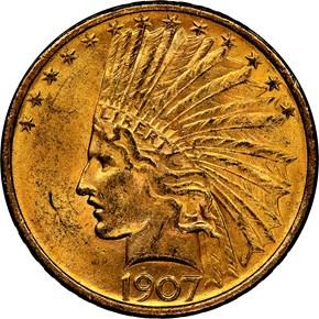 1907 INDIAN $10 MS obverse