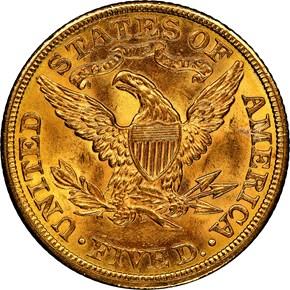 1906 $5 MS reverse