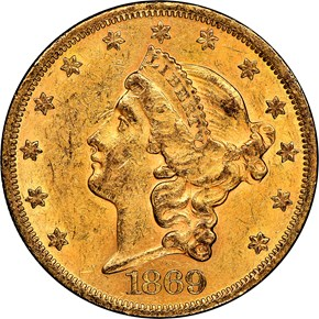 1869 $20 MS obverse