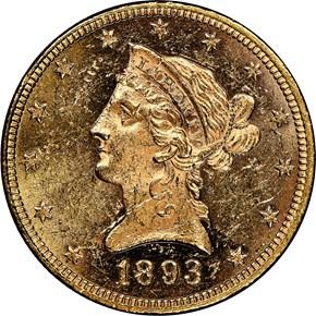 1893 $10 MS obverse