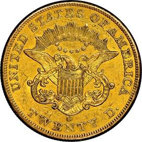 1852 O $20 MS reverse