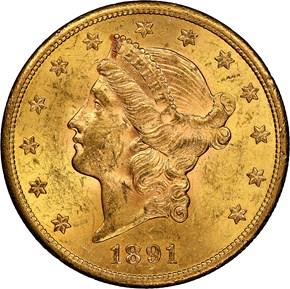 1891 S $20 MS obverse