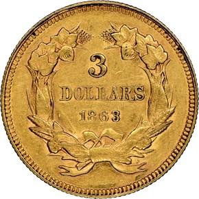 1863 $3 MS reverse