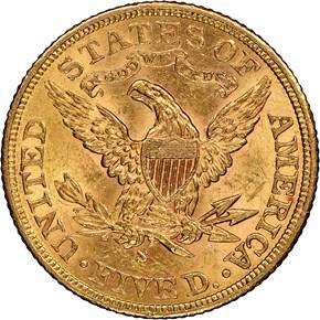 1902 S $5 MS reverse