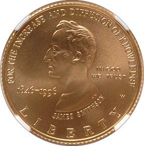 1996 W SMITHSONIAN INSTITUTION $5 MS obverse