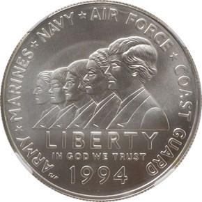 1994 W WOMEN VETERANS MEMORIAL S$1 MS obverse