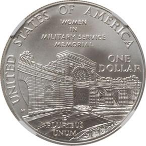 1994 W WOMEN VETERANS MEMORIAL S$1 MS reverse
