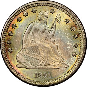 1861 25C MS obverse