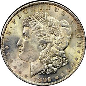 1892 S$1 MS obverse