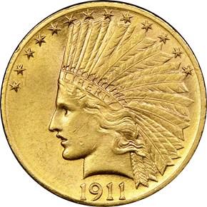 1911 D $10 MS obverse