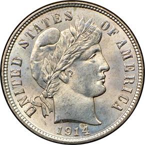 1914 D 10C MS obverse