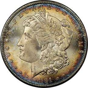 1891 S $1 MS obverse