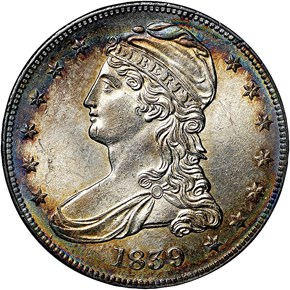 1839 CAPPED 50C MS obverse