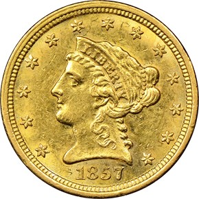 1857 S $2.5 MS obverse