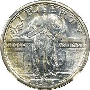 1916 STANDING 25C MS obverse