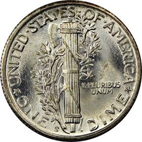 1944 S 10C MS reverse