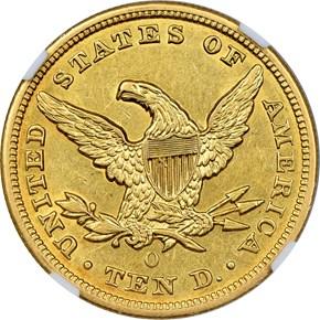1851 O $10 MS reverse