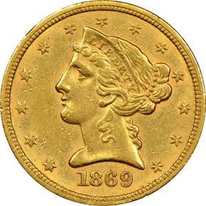 1869 S $5 MS obverse