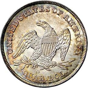 1840 O NO DRAPERY 25C MS reverse
