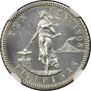 1905 USA-PHIL 10C PF obverse