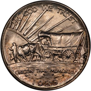 1933 D OREGON TRAIL 50C MS reverse