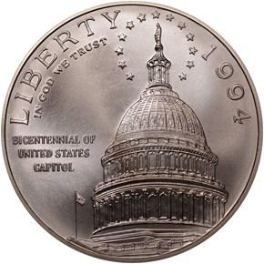1994 D U.S. CAPITOL BICENTENNIAL S$1 MS obverse