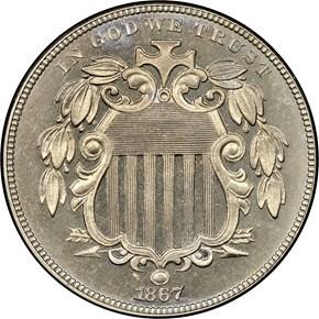 1867 NO RAYS 5C PF obverse