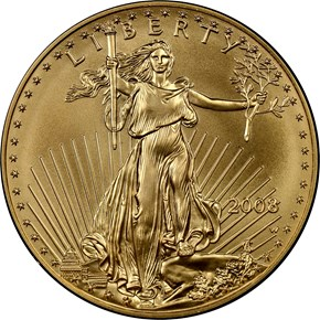 2008 W EAGLE BURNISHED GOLD EAGLE G$50 MS obverse